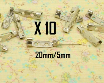 10 x pin couture silver metal 20mm / 5mm
