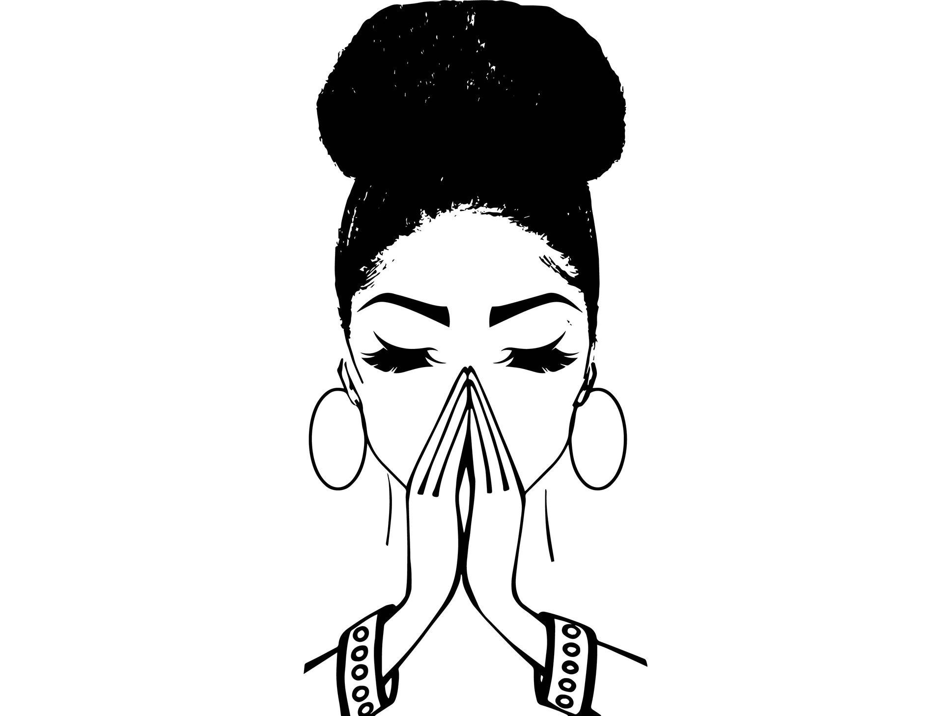 Women Praying Bun Nubian Princess Queen Afro Hair Beautiful