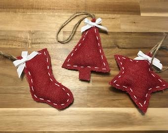 Handmade Hessian Christmas Tree decorations, Christmas Decorations