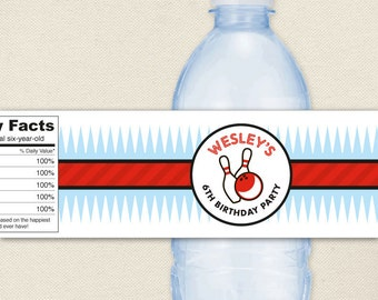 Bowling Party - 100% waterproof personalized water bottle labels