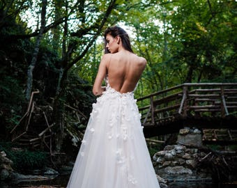 Rustic wedding dress etsy rustic wedding dress boho wedding dress modest flower wedding dress long bridal junglespirit Images