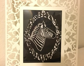Zebra Silhouette with White Frame