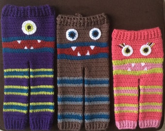 Meme's Monster Pants - Multiple Sizes - Monster Bum Pants - Super Soft Yarns -Kids Clothing - Open Airy Stitching- Custom Colors at Request