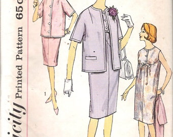"""Vintage 1962 Simplicity 4420 Maternity One-Piece Dress & Jacket Sewing Pattern Size 12 Bust 32"""""""