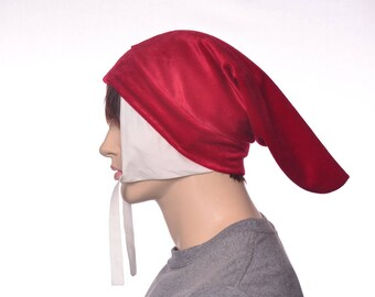 Red Dante Hat made of Velour with White ear flaps Renaissance Bag Hat