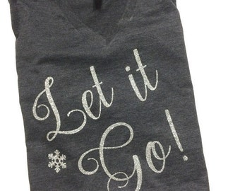 Disney Shirts // Glitter Let it Go Shirt // Disneyland Shirt // Frozen Shirt // Elsa // Disney shirts for women