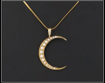 Pearl Crescent Moon Pendant | Antique Pin Conversion Pendant | 14k Gold Pearl Crescent Pendant with Optional 14k Gold Chain |