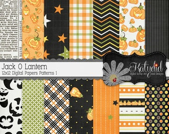 Halloween Digital Paper Jack O Lantern Digital 12x12 Patterns 1 Holiday Seasonal Papers and Backgrounds for INSTANT DOWNLOAD