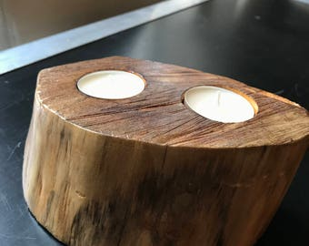 Natural treated hand-crafted reversible 1 + 2 tea light candle holder wood block flip over