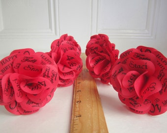 Personalized Red Paper Roses Without Stems Birthdays, Anniversaries, Weddings, Showers, or Any Special Occasion. 2.5 inch diameter Set of 12