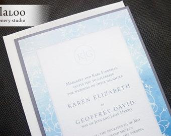 "Ombre Vines Monogram Wedding Invitation Sample - ""Xen"""