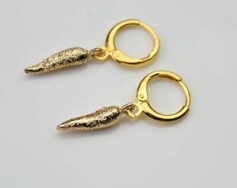 italian horn hoop earring gold hoops endless hoop huggie dangle earring simple earrings everyday/gift for her