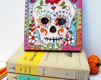 original canvas art | sugar skull | Day of the Dead Art | Skull Art | gothic art | mixed media art | Mexican folk Art | Dia De Los Muertos