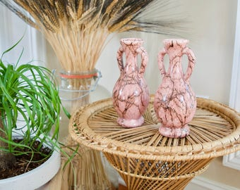 Set of Two Vintage Pink Vases    Marbled Bud Vases with Handles