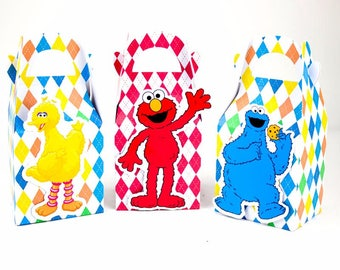 Sesame street favor boxes, Elmo favor boxes, Elmo Birthday themed party supplies, Elmo party favor boxes, Favor bags