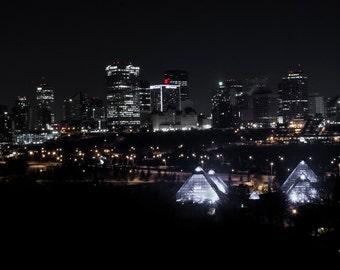 "Edmonton Skyline Night Magnet 2x3.5""  Edmonton, Alberta, Canada."