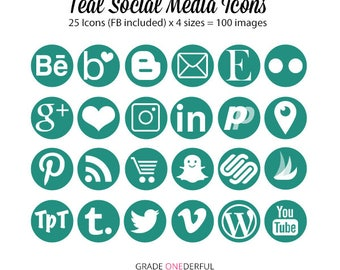 Teal Social Media Icons, Teal Blog Buttons, Website Buttons, 4 Sizes, 100 Icons, Blog Design, Business Card Icons, Commercial Use