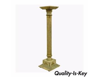 Vintage Italian Florentine White & Gold Distress Painted Column Pedestal Stand