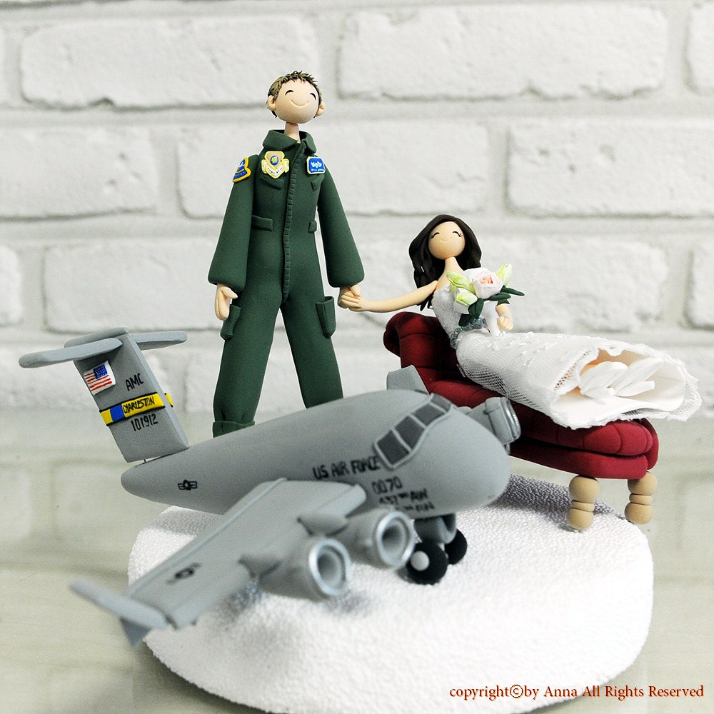 Custom Wedding Cake Topper An Air Force Pilot wedding cake