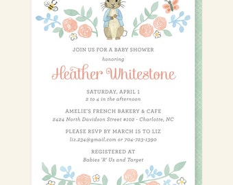 Peter Rabbit Baby Shower Invitation - Rabbit Shower Invitation, Beatrix Potter Shower Invite, Bunny Baby Shower Invitation, Neutral Shower