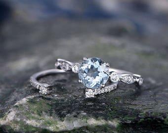 Blue Aquamarine engagement ring set-Solid 14k white gold-handmade Diamond Wedding ring-2PC Stacking ring-6.5mm Round Cut Marth Birthstone