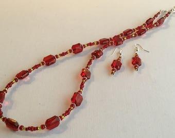 Gargantilla de perlas rojo estilo collar conjunto