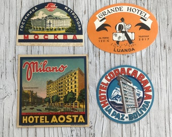 Four hotel luggage labels across the World: Russia, Italy, Boliva and Angola. Decorative colourful labels. 1950s