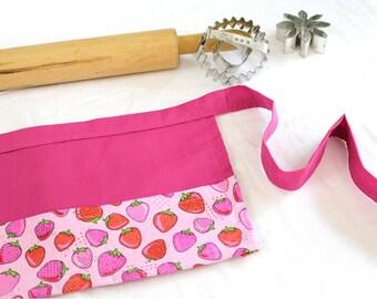Pink Strawberries Child Apron