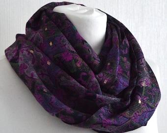 Pink Purple Black Silk Scarf - Silk Infinity Scarf - Womens Scarf - Sari Silk Scarf - Upcycled Sari Scarf - Gift for Her - CMCISA0469