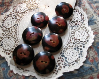 Seven Vintage, Gorgeous Medium Buttons, Brown and Black, One Inch Beauties