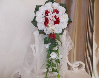 Red and white roses bridal bouquet and orchids