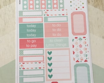 Mint and Coral Floral Sampler Sticker Sheet - S006