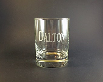 Set of 2 Custom Etched NAME Whiskey Rocks Glass, Engraved Gifts For Dad, Brother, Grandpa, Mom, Sister, Best Man Groomsmen, Bridesmaid