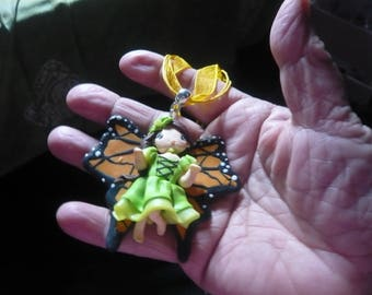Beautiful elphe orange and Green Butterfly polymer clay pendant necklace