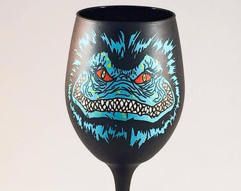 Horror Movie Creature Inspired Hand Painted Wine Glass.