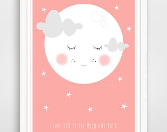 To The Moon And Back Print, Pink To The Moon Print, To The Moon Nursery Print, Pink Moon Print, Pink Nursery Print