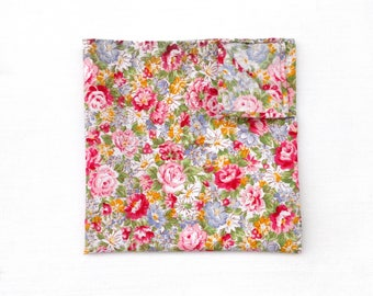 Floral Pocket Square / Blush Floral Pocket Square / Pink Floral Pocket Square / Wedding Pocket Square / Men's Handkerchief