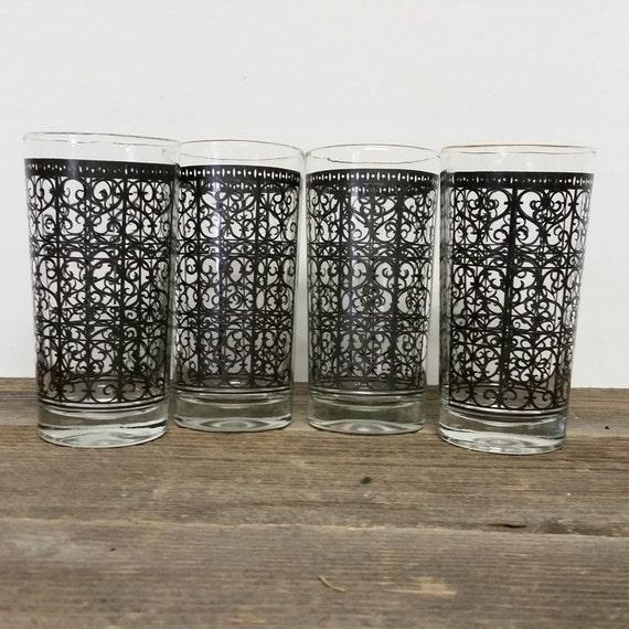 Vintage Drink Glasses Mid Century Tall Gold/Black Graphic Hi Ball Glasses Set 4