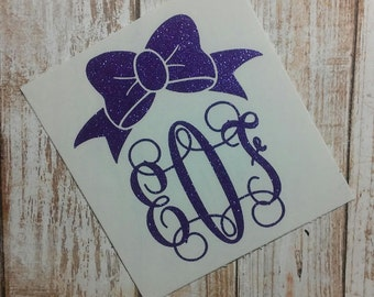 Bow Decal/ Bow Monogram / Monogram/Decal/ Vinyl Decal/ Girly Monogram/ Baby Girl Sticker/Yeti Cup Decal/Gift/Ladies Decal/Female Decal