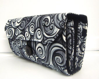 Cash Envelope Wallet  / Dave Ramsey System / Zipper Envelopes - Gray and Black Swirls