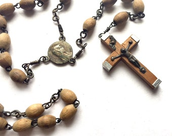 Vintage Wood Bead Catholic Rosary, Olive Wood and Silver Rosary, Jerusalem Rosary, Holy Land Olive Wood Bead Rosary, Virgin Mary Rosary