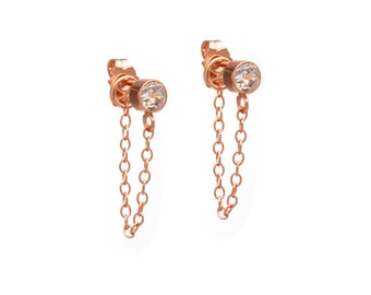 Stone and Chain Earrings - Rose Gold Chain Earrings - Cubic Zirconia - 18k Rose Gold Vermeil - Dangling Earrings - Stud and Chain