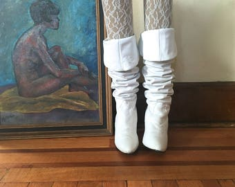 size 6, Vintage 1980s White Leather Over The Knee Slouch Boots - OTK, high heels with back corset detail, Rocker Chic - Pimento, Yugoslavia