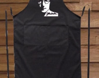 Modern black long apron, John Lennon, for her, for him, two pockets, BBQ, for gift, Birthday, cooking cool apron
