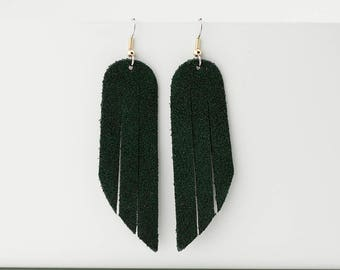 Leather Earrings / Fringe / Forest Green Suede