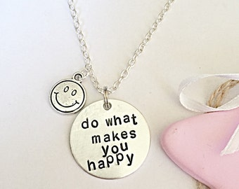 Smiley Necklace, Happy Quote, Hand Stamped Necklace, Motivation Necklace, Be Happy, Happy Jewelry, Quote Jewelry, Thinking Of You Gift