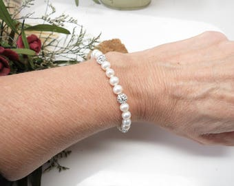 Freshwater Pearl Bracelet, Pearls With Pave Crystal In Sterling Silver, Bridal Bracelet, Beaded Bracelet, 6.5-8.5 Inches Length, Anniversary