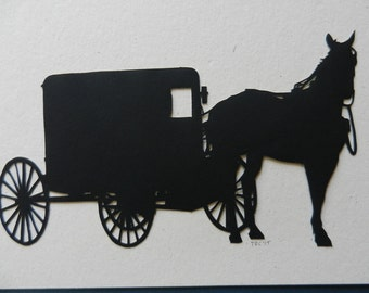 Amish Horse and Buggy Scherenschnitte