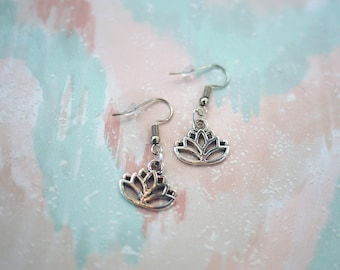 Lotus Earrings Boho Jewelry, Flower Earrings, Dangle Earrings Lotus Jewelry, Christmas Gifts, Charm Earrings, Gifts for Her, Womens Earrings