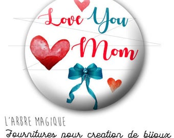 2 cabochons glue mother's day Love Mom blue turquoise red ref 1779 - 16 mm-